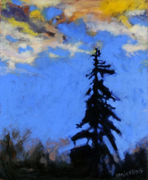A Single Tree - Painting by Ken Van Der Does
