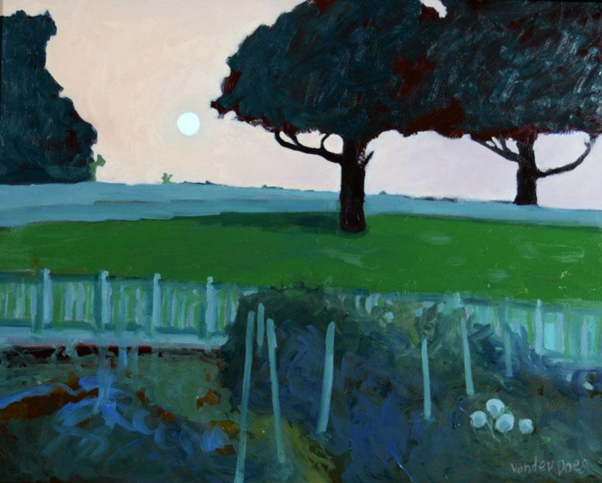 Garden View - Oil on Canvas by Ken Van Der Does