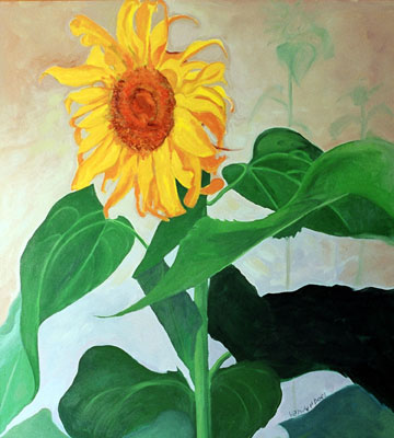 Looking for the Light - Sunflower - Painting by Ken Van Der Does