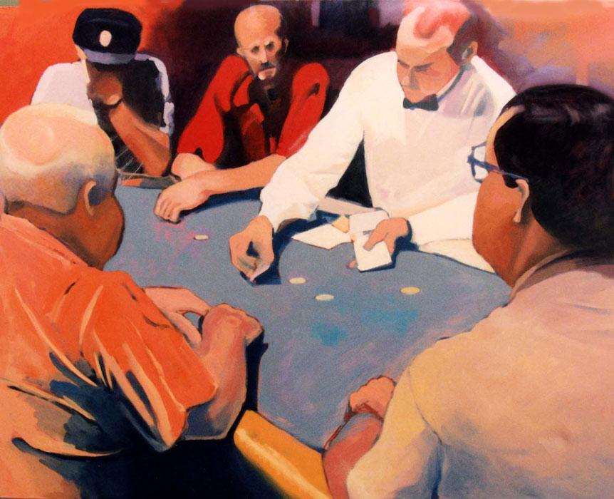 The Gamblers - Painting by Ken Van Der Does